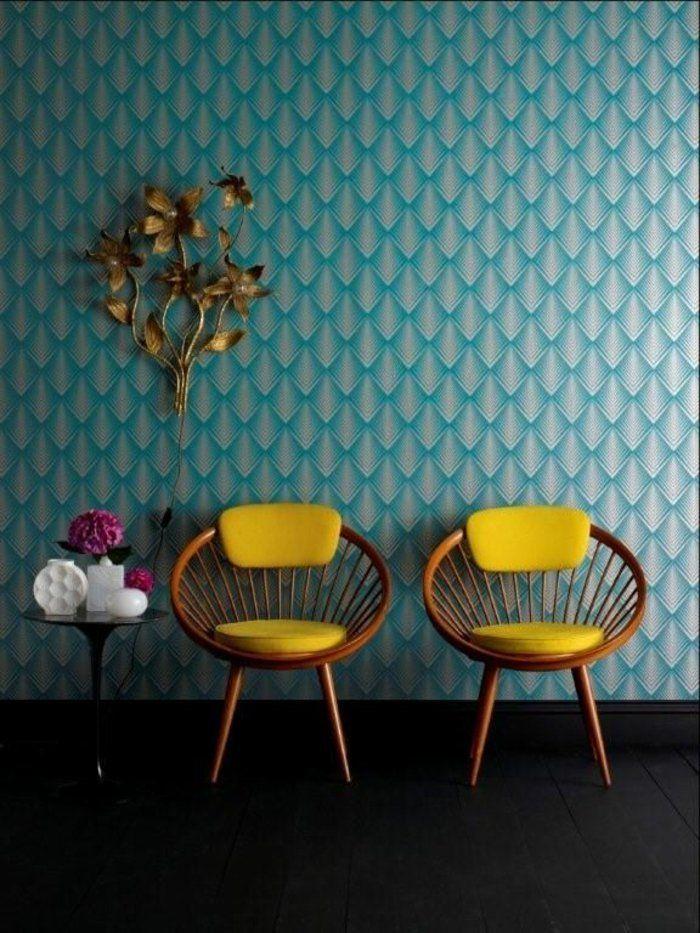 le papier peint g om trique en 50 photos avec id s couleur bleue fonc e bleu fonc et leroy. Black Bedroom Furniture Sets. Home Design Ideas