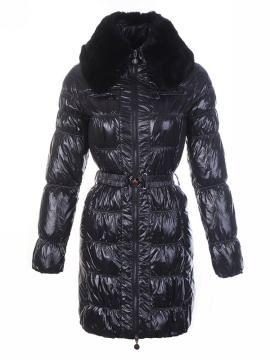 2011 New Moncler Dame Fur collar Long Svart