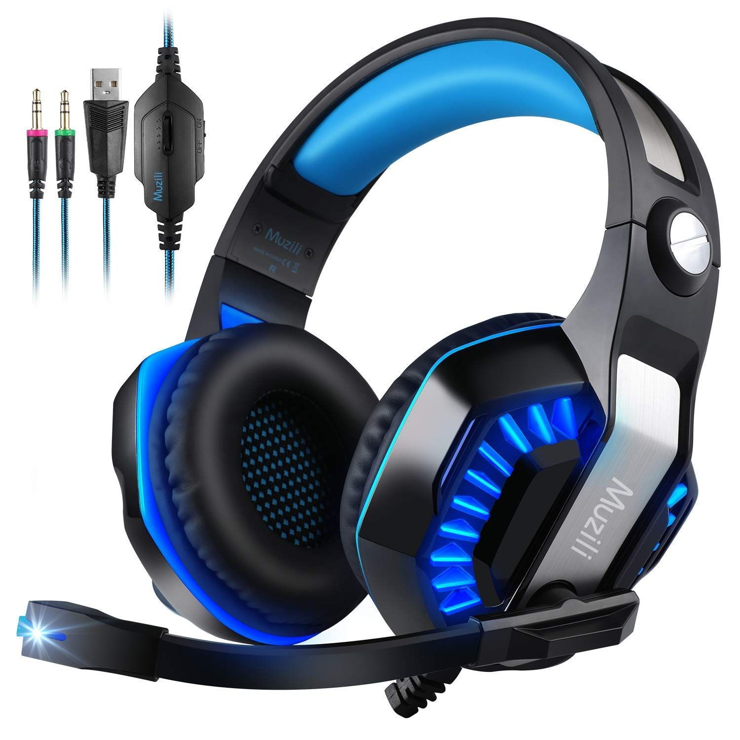 Muzili Gaming Headset,7.1 Stereo Gaming Headphone for PC,PS4,Xbox  One,Ipad,Mobile Phone,Noise-Cancelling Headset and M… | Gaming headphones, Gaming  headset, Headset