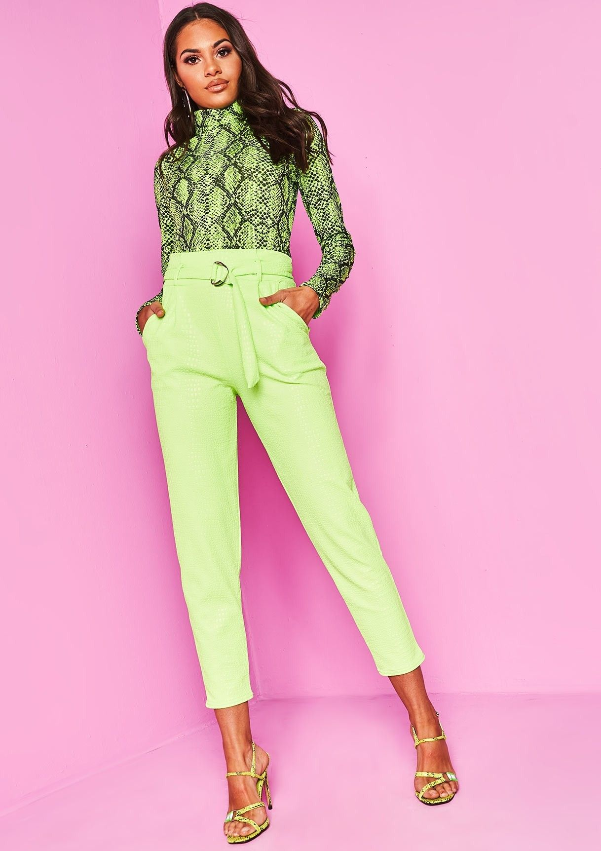 3589f72dd5be00 Missyempire - Jade Neon Green Snake Print Belted Skinny Trousers