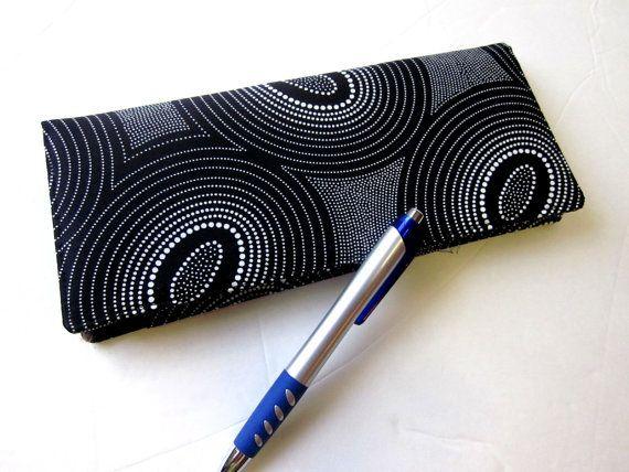 Handmade Business Checkbook Cover Black White By Patriscorner