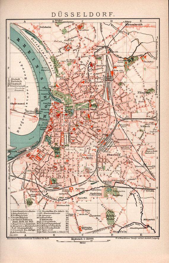 1898 Dsseldorf Germany Antique Map North RhineWestphalia Rhine