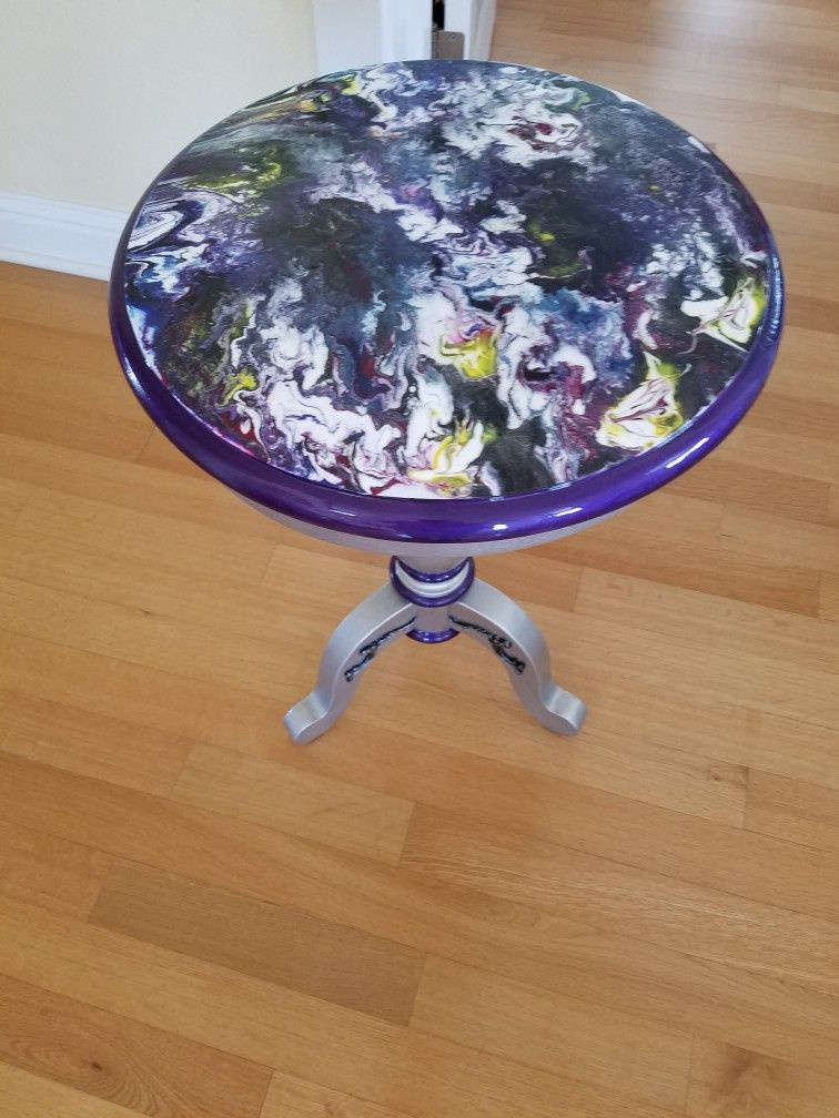 I Painted A Goodwill Table And Did An Acrylic Pour Top Resin Art