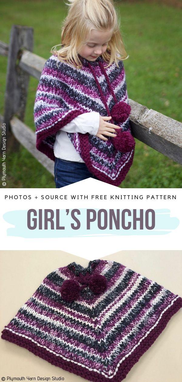 Chunky Ponchos for Kids Free Knitting Patterns