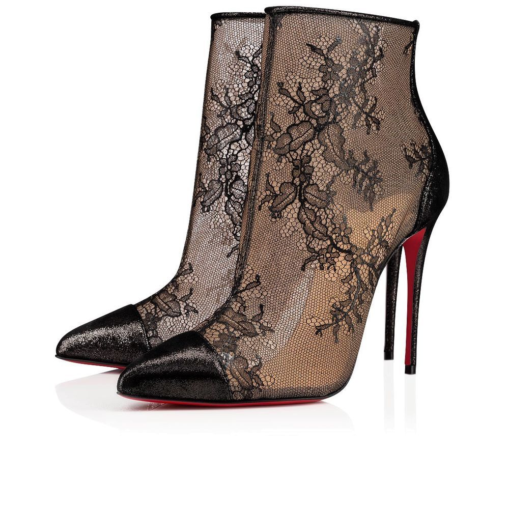 f6856e6a NIB Christian Louboutin Gipsybootie SPC 100 Black Lace Mesh Ankle Heel Boot  36.5 #fashion #clothing #shoes #accessories #womensshoes #boots (ebay link)
