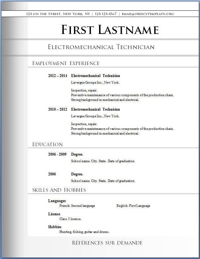 Download Blank Resume Format -    wwwresumecareerinfo - blank resume template