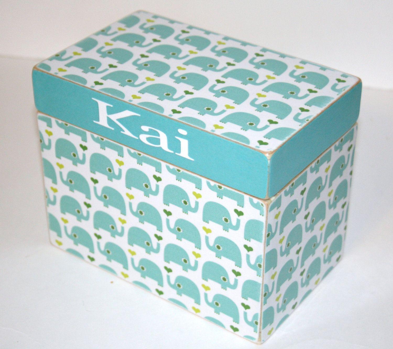 Baby Shower Card Box Blue Elephant Handmade By TheAdornedAbode