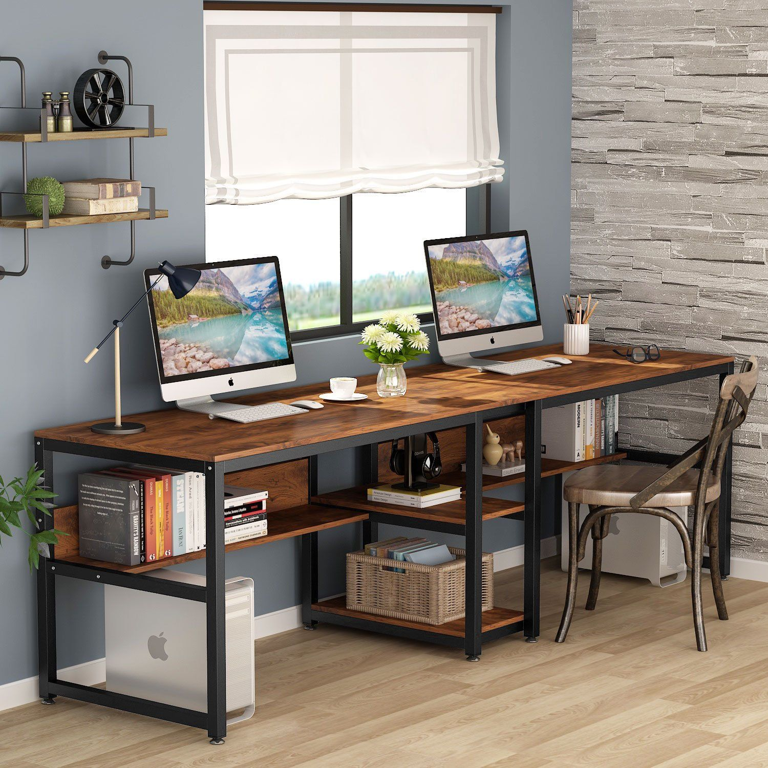 Tribesigns Two Person Desk With Bookshelf 78 7 Computer Office Double Desk For Two Person Rustic Writing Des In 2020 Two Person Desk Desk For Two Rustic Writing Desk