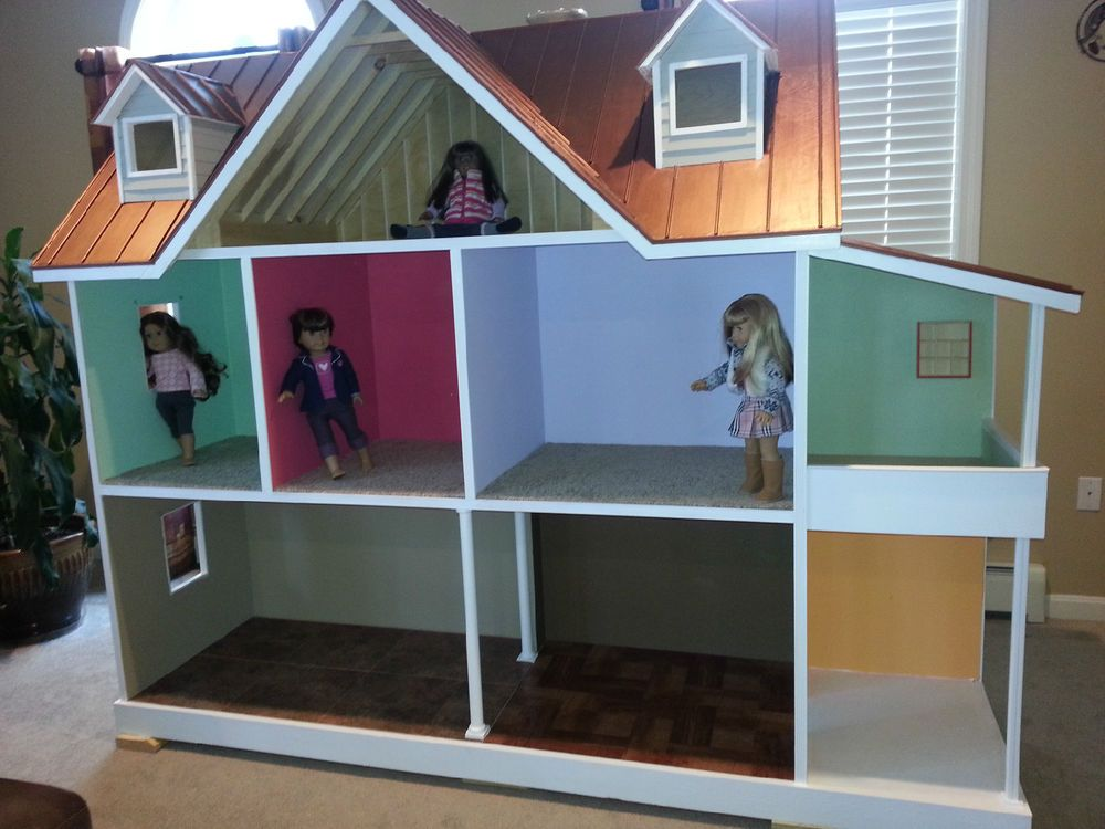 Custom built american girl 18 inch doll house one of a for American house plans free