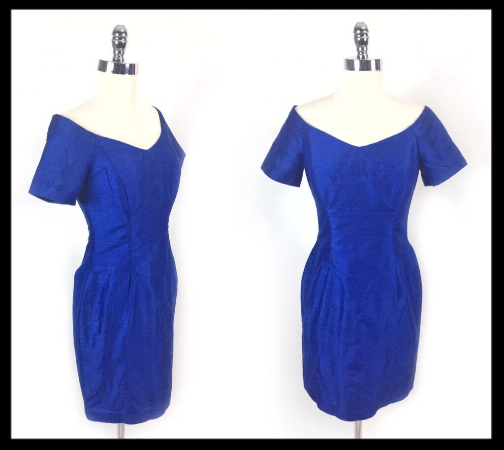 Awesome awesome watters royal blue off the shoulder silk s short