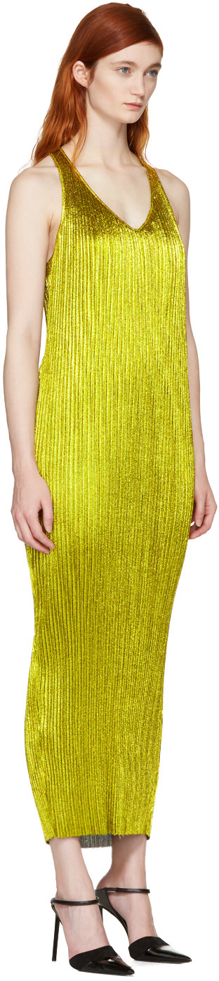 Haider Ackermann - Gold Plissé Tank Dress