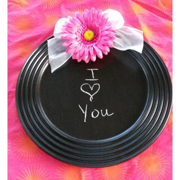 Up-Cycled Hand Painted Cottage Chic Round Chalkboard Pink Flower for... (33 AUD) ❤ liked on Polyvore featuring home and home decor