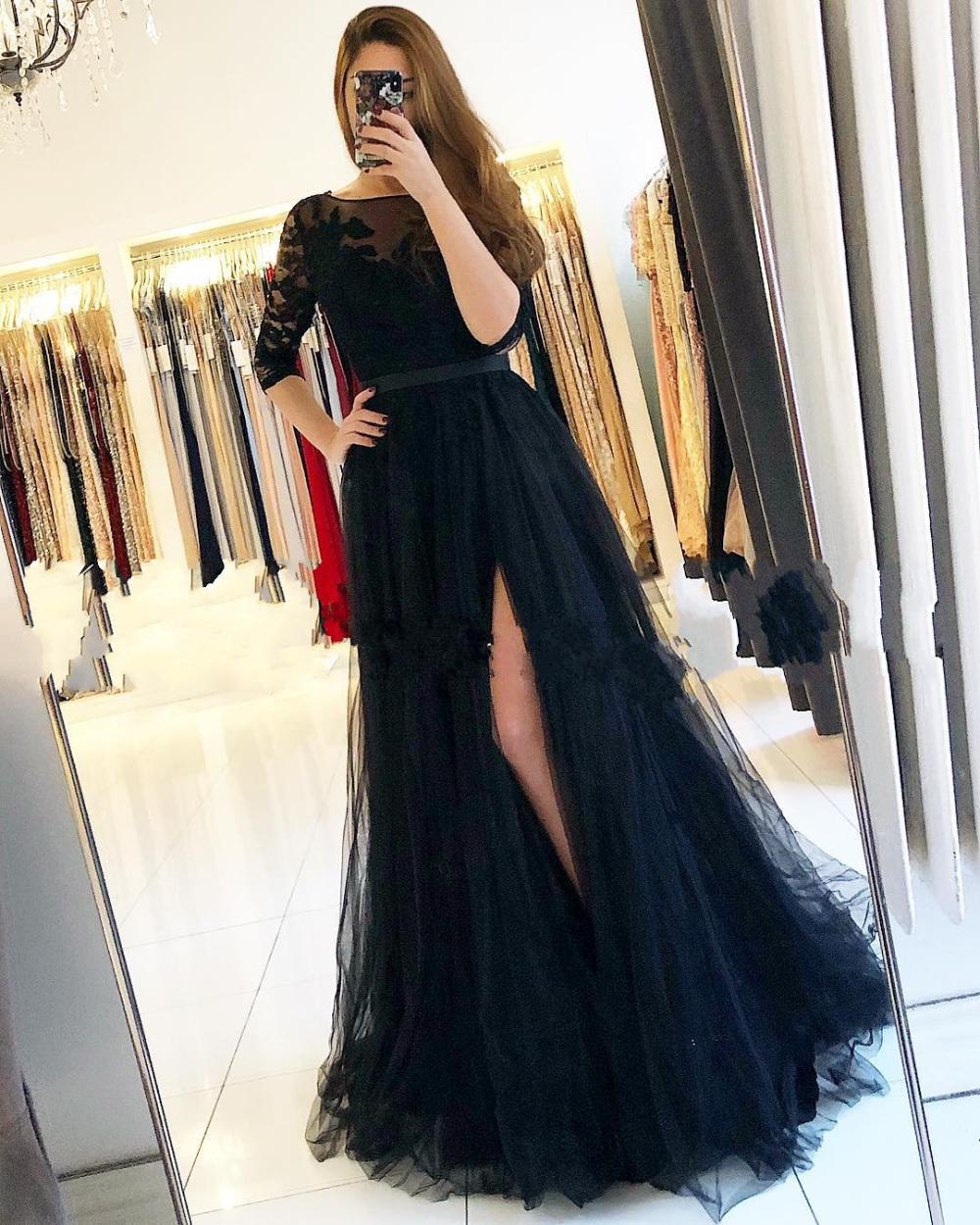 Fashion Abendkleider Lang Schwarz  Abiballkleider Mit