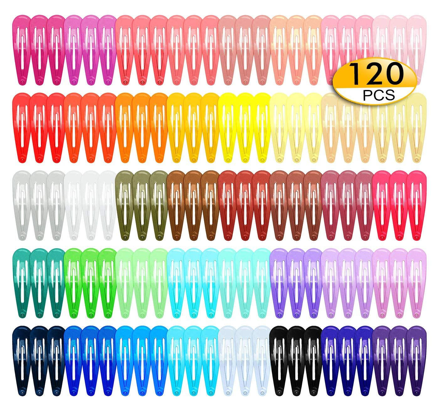 120 Pack 2 Inch Hair Clips 40 Assorted Colors Snap Hair Clips Hair Barrettes Snap Barrettes For Girls Kids Women In 2020 Hair Clips Girls Hair Clips Hair Barrettes