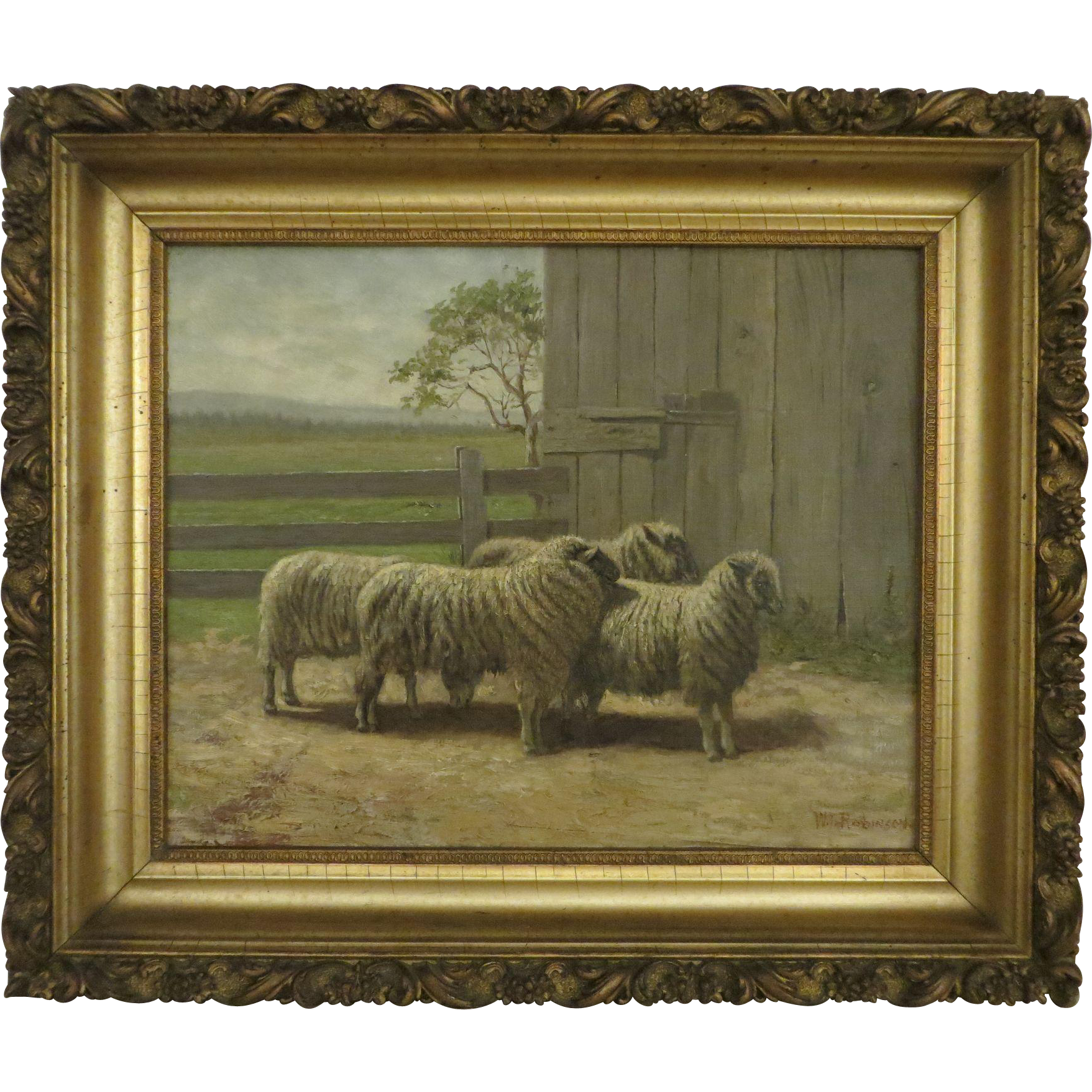 1890 Sheep Painting Signed W T Robinson From Capecodattic On Ruby
