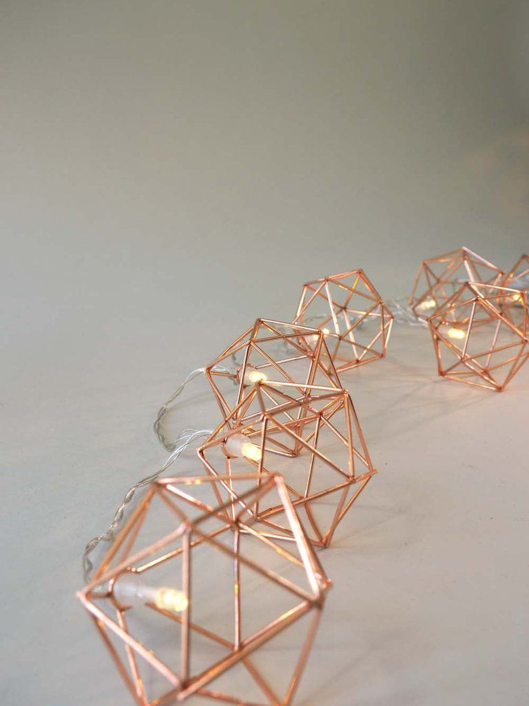Copper Geometric Fairy Lights #fairylights