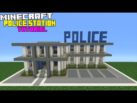 minecraft tutorial how to make a police station minecraft