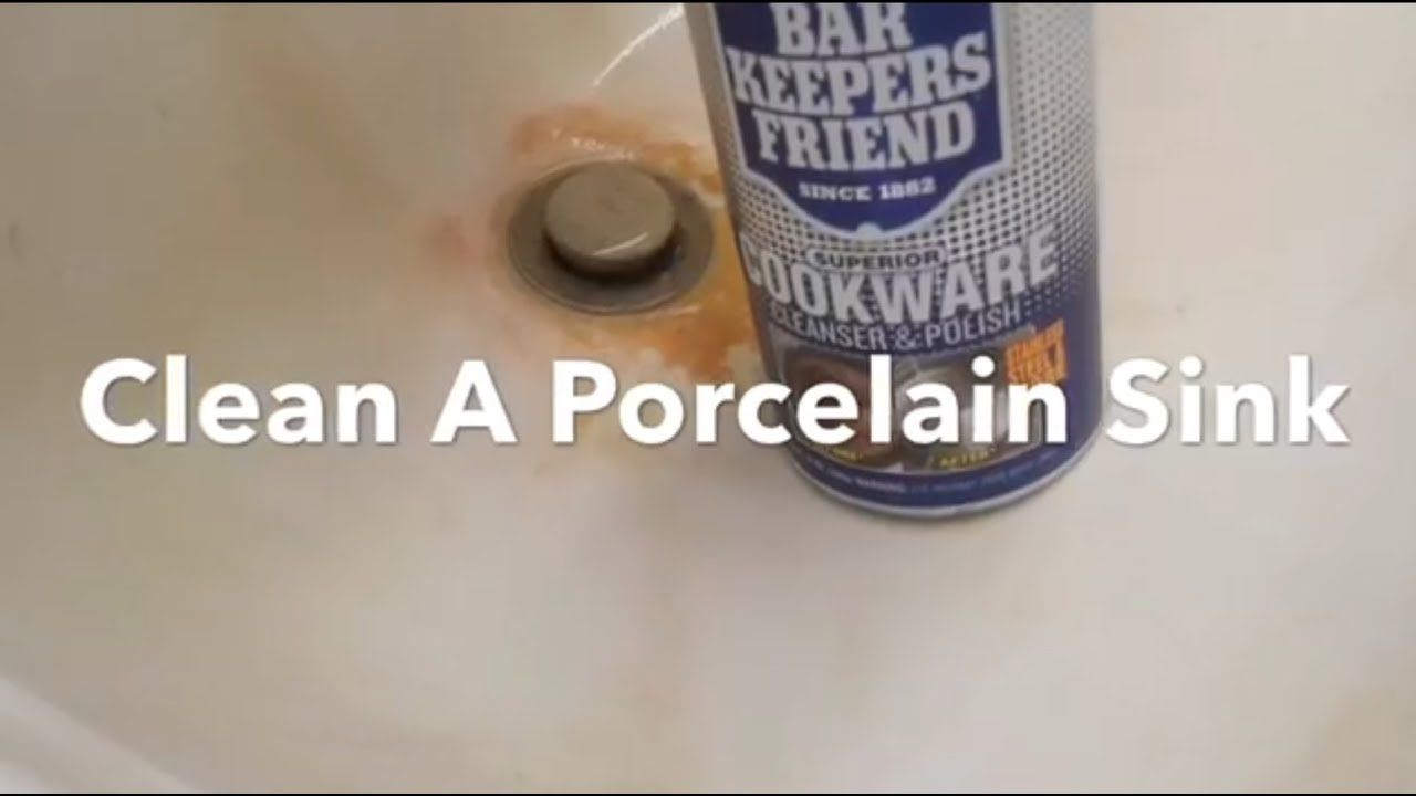 How To Clean Porcelain Sink Remove Rust Stains, Bar Keepers Friend.
