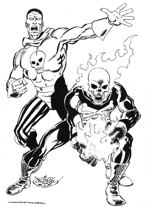 The Destroyer & Blazing Skull commission by John Byrne. 2015.