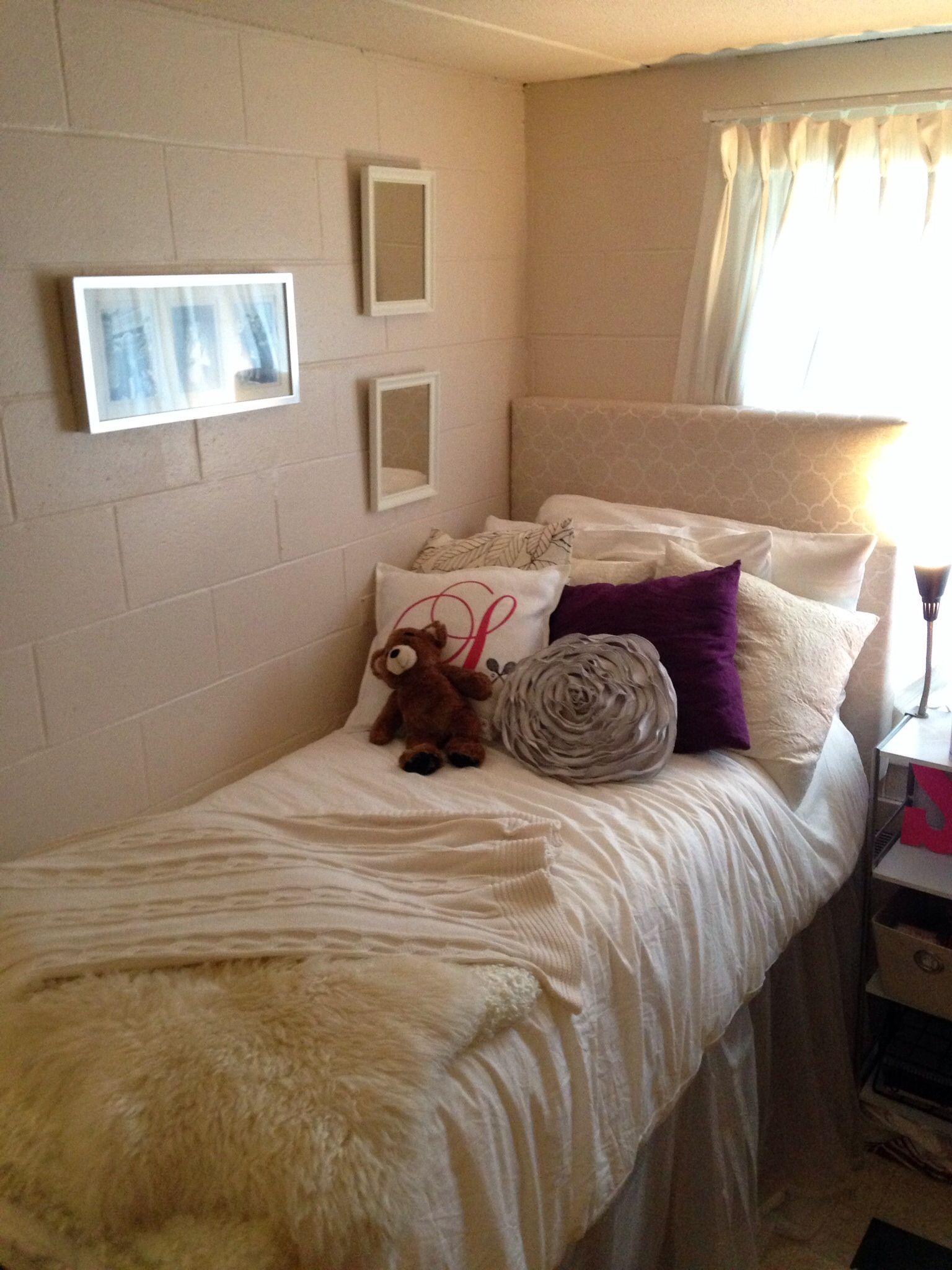 Cozy dorm 2013 Fairfield University DIY Headboard DIY Bedskirt