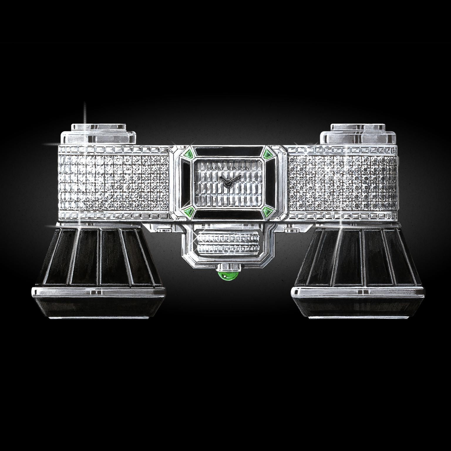 The Harry Winstone Opera glasses: set in white gold with black onyx, white diamonds and green emeralds. With a watch face in the centre with pave dial. For the high flyers with an operatic point to make: http://www.thejewelleryeditor.com/jewellery/article/harry-winston-broadway-glasses-opera-unveiled-baselworld/ #jewelry