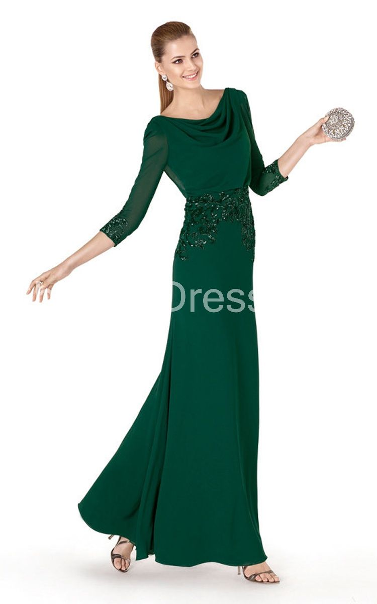 Classic sleeve long dress with draped neckline and beading my