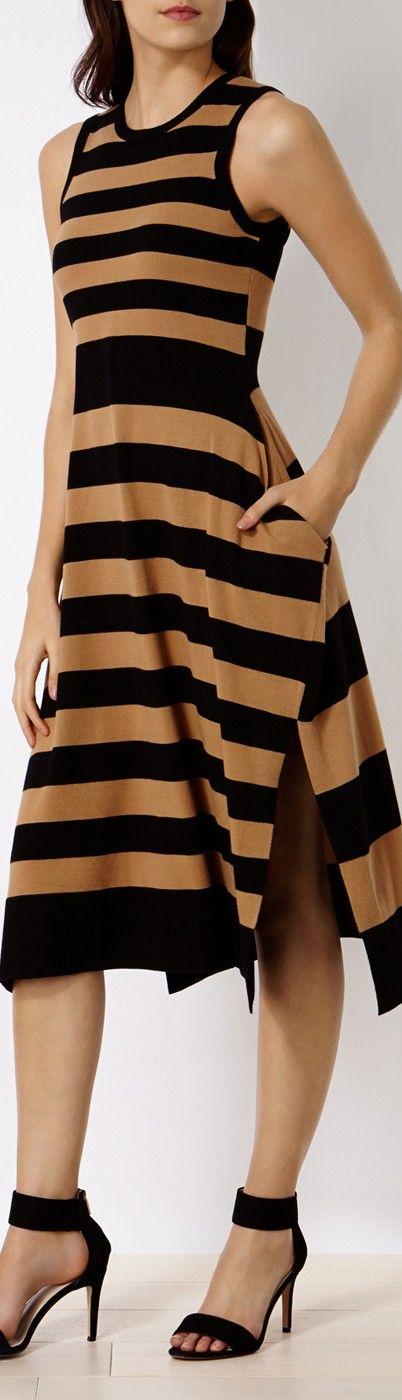 Karen Millen striped dress women fashion outfit clothing style apparel @roressclothes closet ideas