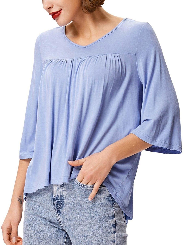 df70212483e Women s Casual Babydoll Blouse Loose V-Neck Knit Tunic Shirt Tops - Blue -  C8189Q60HLE