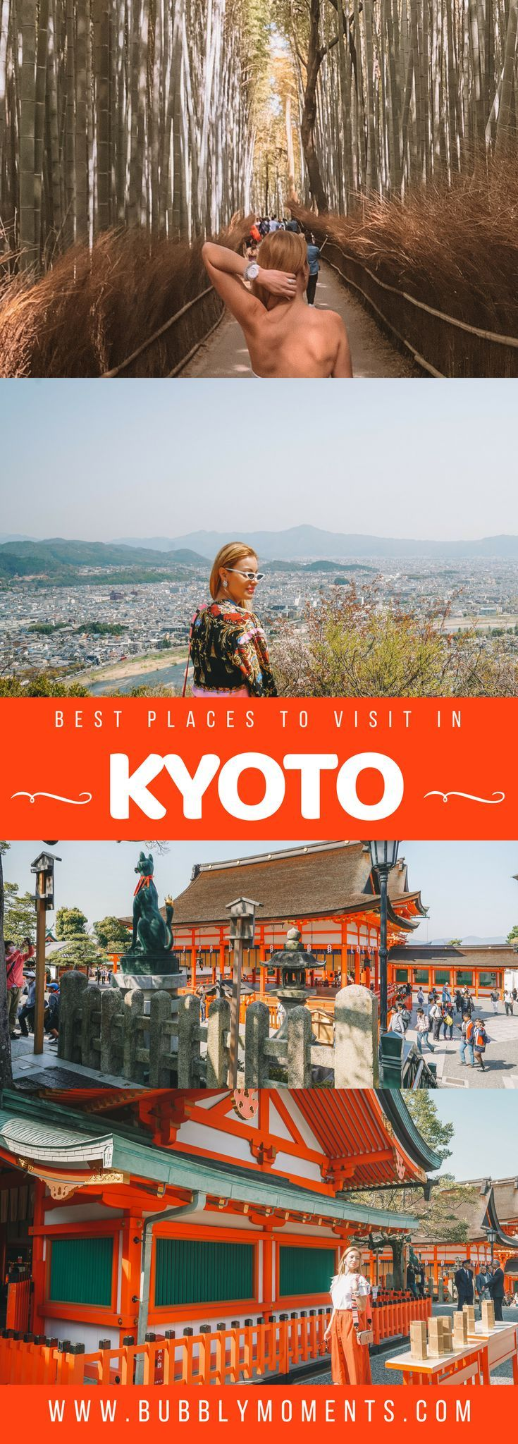Discover the best places to visit in Kyoto. Let me guide you through the top Kyoto attractions to see in 2 days | Kinkaku-ji Temple | Fushimi Inari Shrine | Arashiyama Bamboo Grove and Monkey Park Iwatayama | 2 days in Kyoto | Things to Do in Kyoto | Japan | Travel | Travel Photography | Bubbly Moments #kyoto #japan #kinkakuji #fushimiinari #shrine #travel #arashiyama #travelblog #travelblogger #chicagoblogger