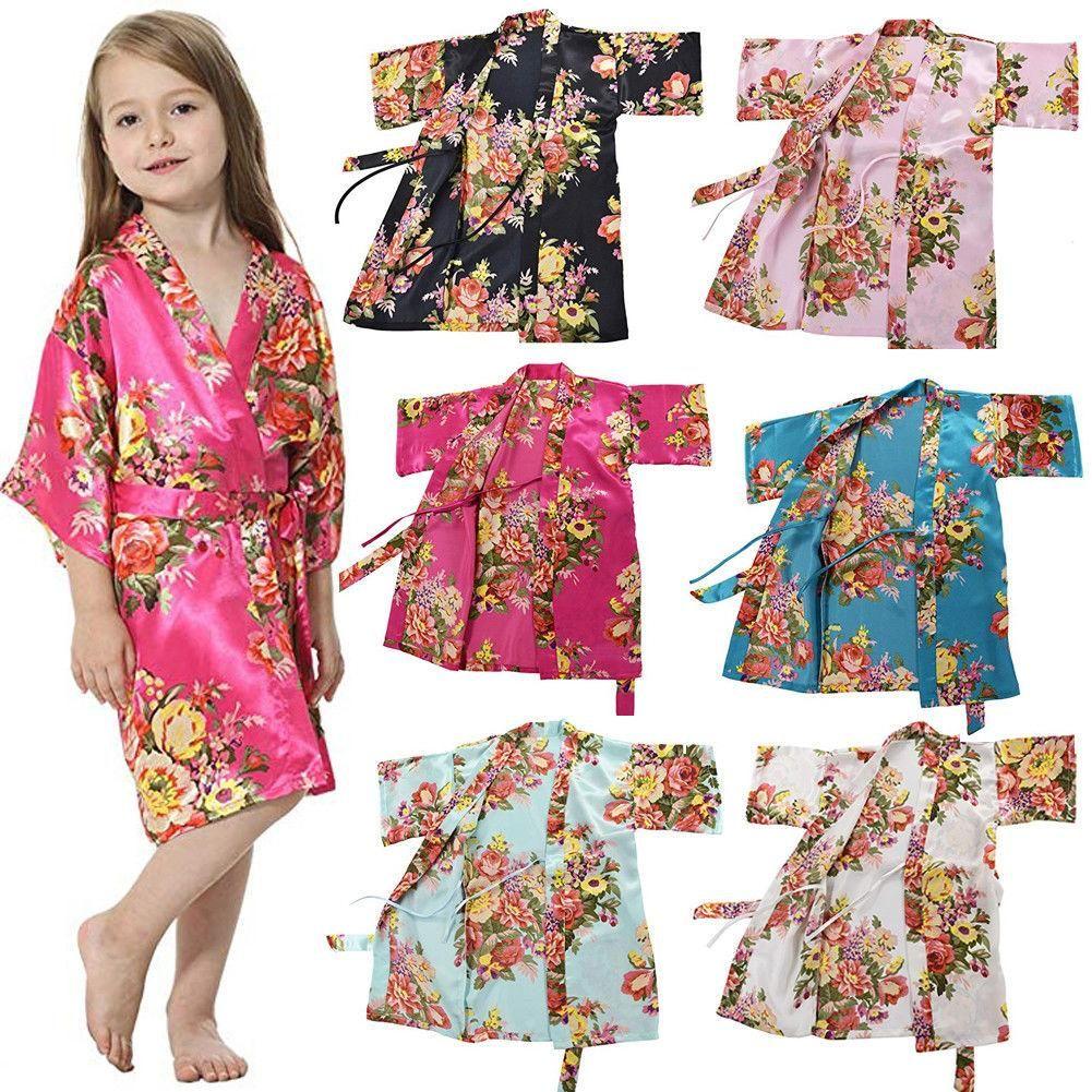 New Fashion Kids Girl Night Gown Summer Girl Satin Silk Pajamas Cute Girl Casual Flower Nightwear Bathrobe Girls Night Dress Kids Dress Kids Nightwear [ 1001 x 1001 Pixel ]