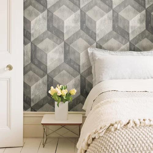 Husnu Bauhaus 18 L X 20 5 W Peel And Stick Wallpaper Roll Geometric Wood Wallpaper Weathered Wood Wood Wallpaper