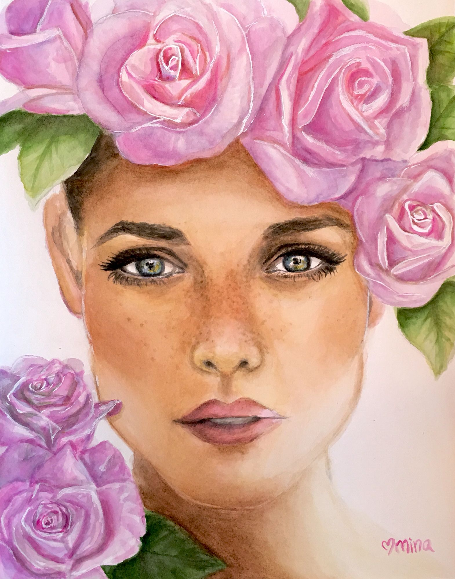 8x10 Watercolor Portrait Roses Woman Face Glow Art By Mina Fordyce