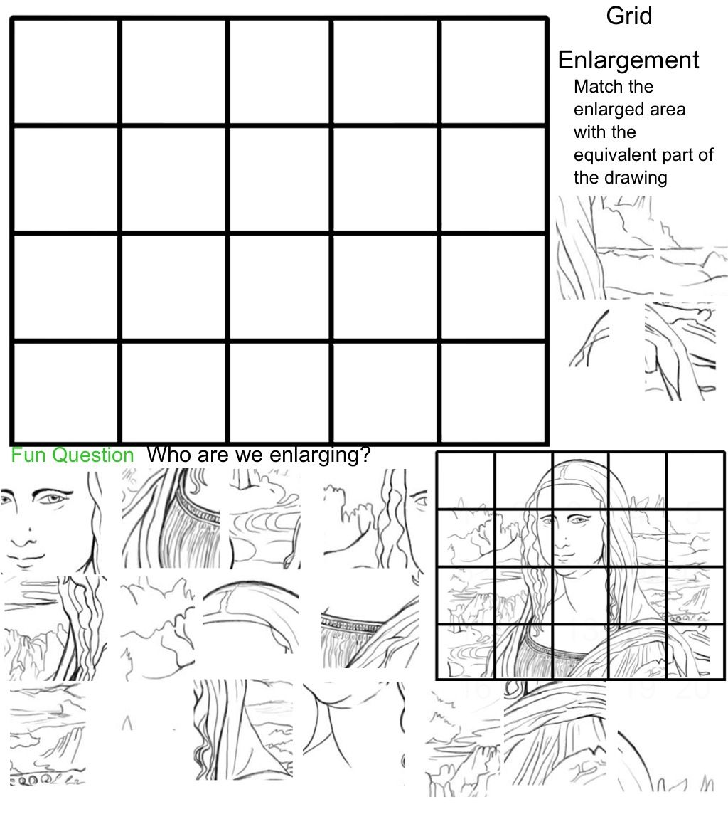 Worksheets Grid Art Worksheets original mona lisa grid enlargement game for studio art journals art