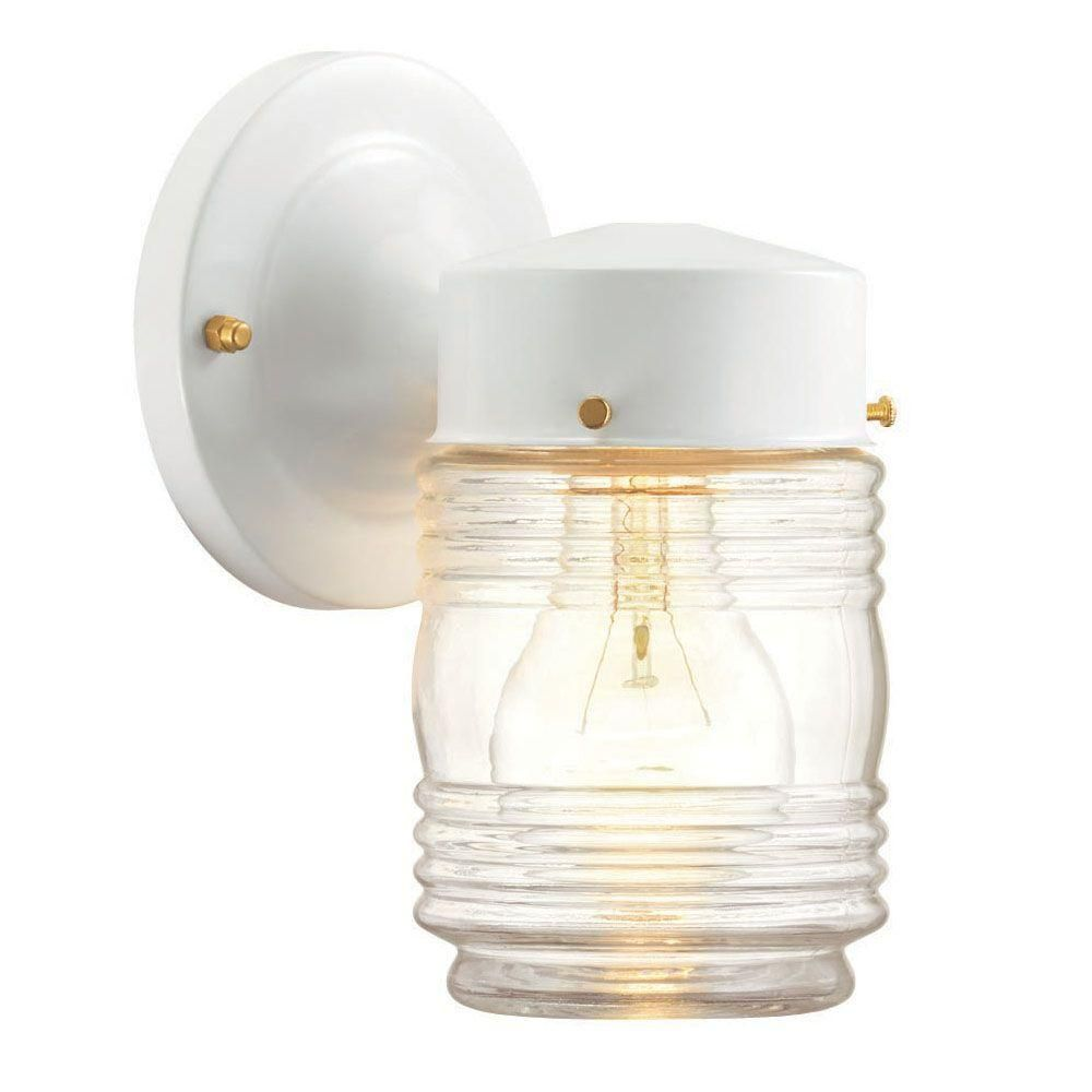 Hampton bay 1 light outdoor matte white jelly jar wall lantern hampton bay matte white 1 light outdoor jelly jar wall lanternthe home depot 500 arubaitofo Images