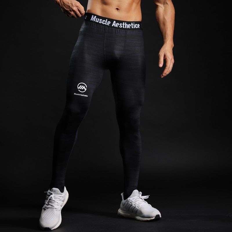 dfbec6e3c6717a Mens Compression Tights Leggings Run Sports Male Gym Fitness Pants Quick  dry Trousers Workout Training Crossfit Yoga Sweatpants