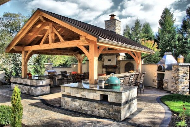 This 19 X 22 Timber Frame Pavilion Is Perfect For Any Outdoor Gathering Outdoor Kitchen Design Outdoor Kitchen Decor Backyard Kitchen
