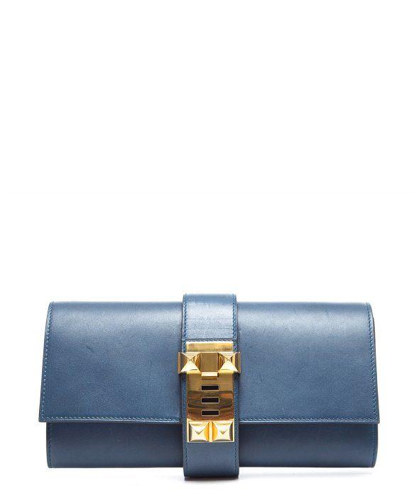 9834a02e5e5 Hermes Pre-Owned Hermes Thalassa Blue Calf Leather Medor Clutch ...