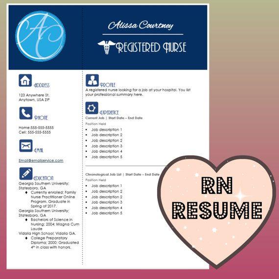Resume Template Instant Word Document Download For Registered Nurses Registered Nurse Resume Nursing Resume