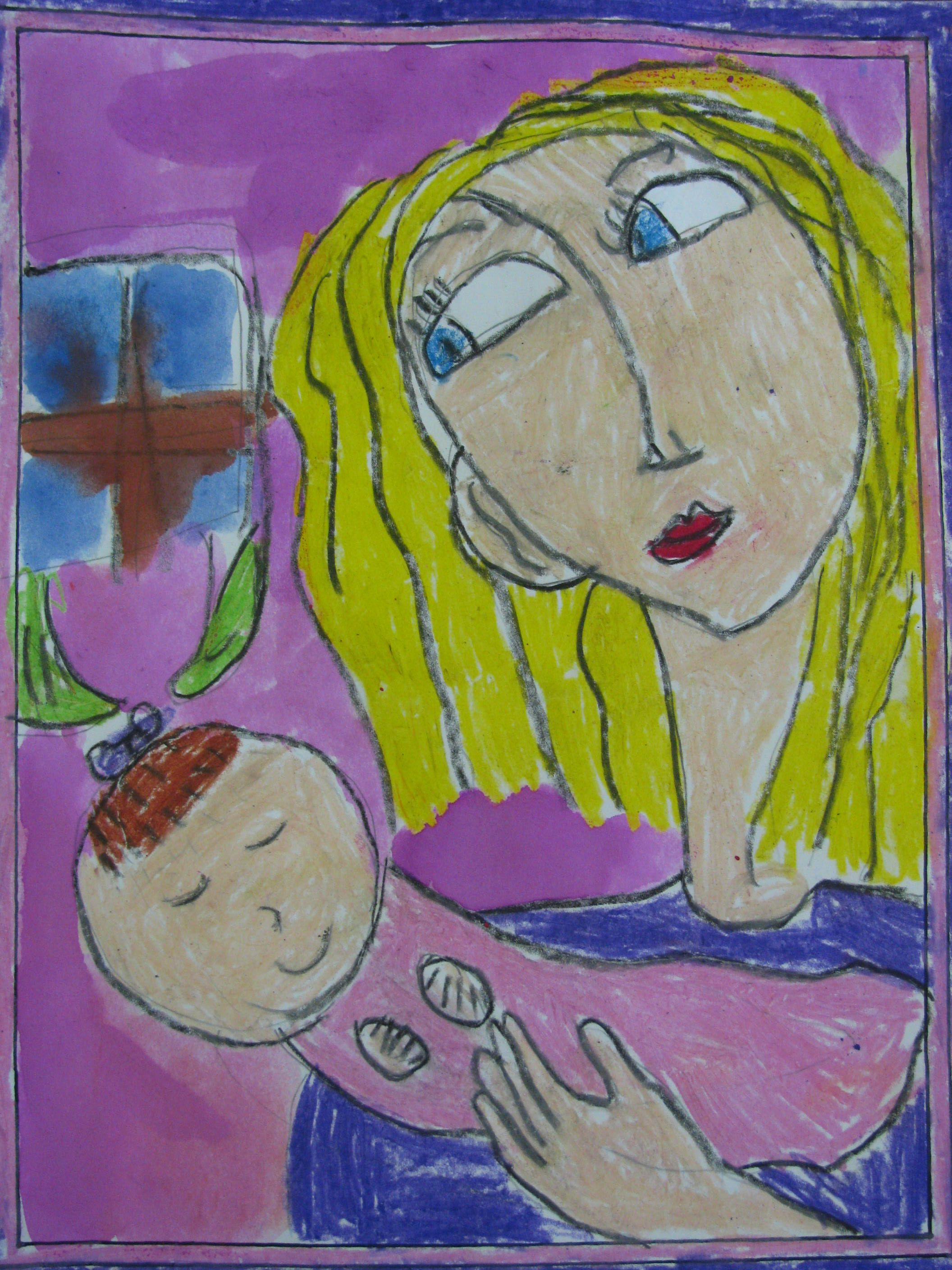 1st Grade Oil Pastel Mother And Baby Painting 8 5 X11