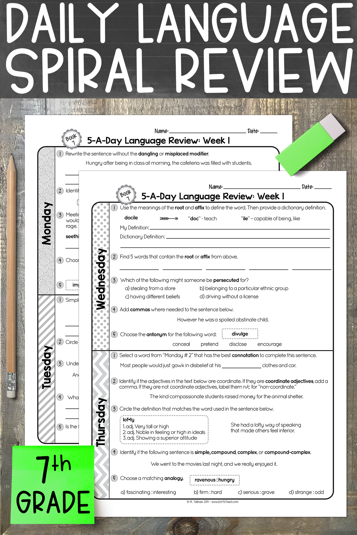 hight resolution of 7th Grade Daily Language Spiral Review • Teacher Thrive   Spiral review