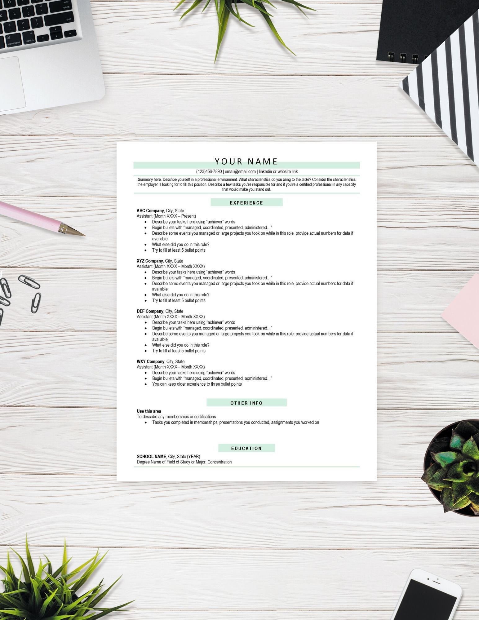 Classic Resume Template Etsy Good resume examples