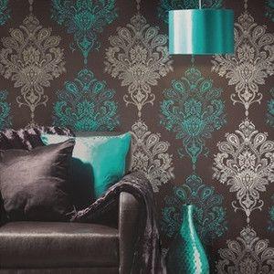 Nikita feature wallpaper, modern damask, pink and white, black, chocolate teal