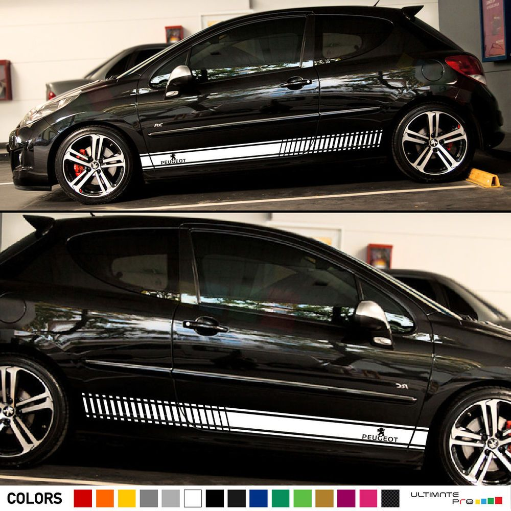 Decal sticker stripe kit for peugeot 207 rc cc wing lip xenon light graphic hid ultimate1pro
