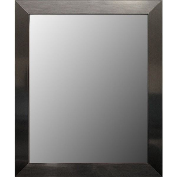 Elegant Stainless Steel Finish Framed Bathroom Mirror   Free Shipping Today    Overstock.com   18999222