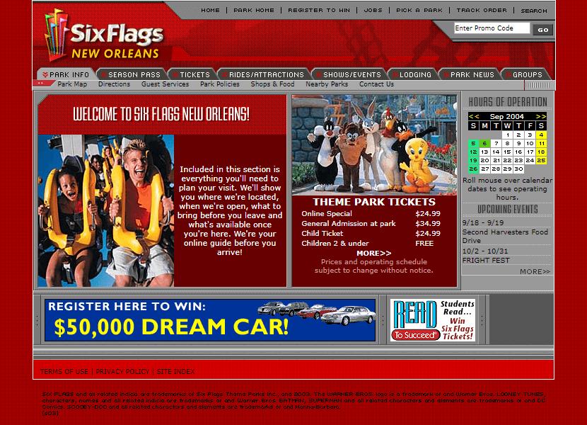 Six Flags Website In 2004 Web Design Design Museum Design