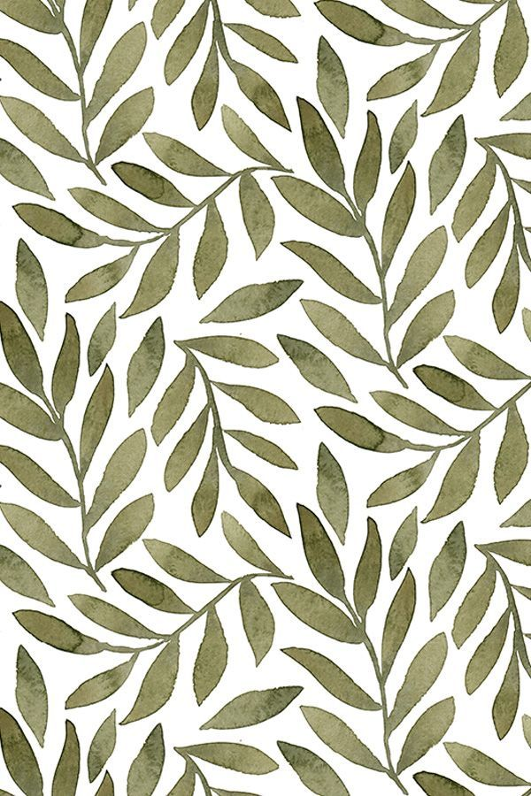 Fabric by the Yard Green Leaves on White