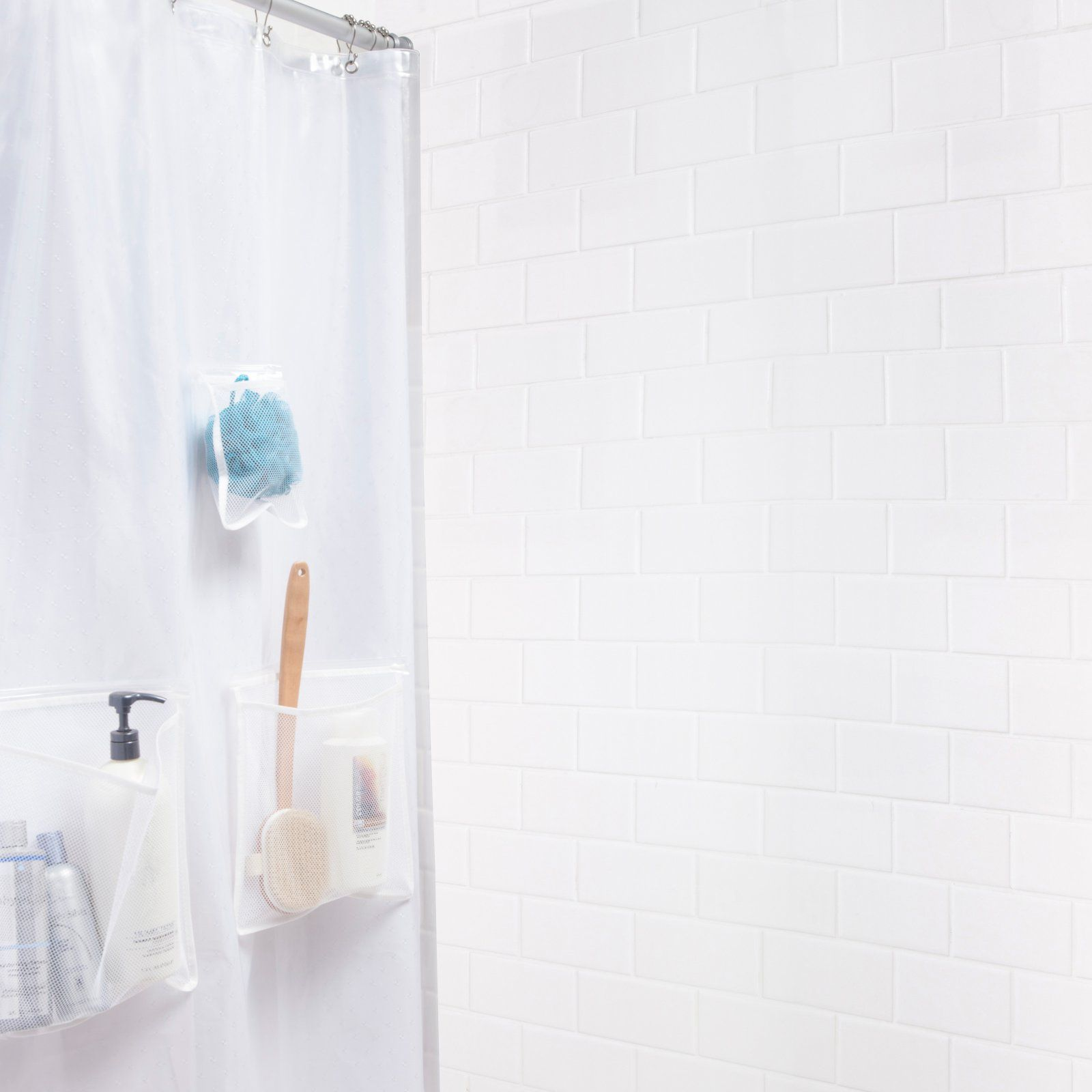 Kenney Mildew Resistant Peva Shower Curtain Liner With Pockets