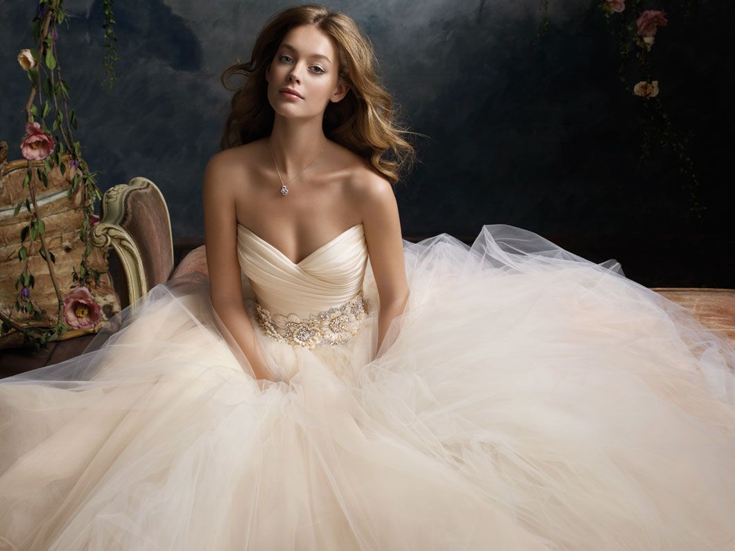 Covered shoulder wedding dresses  lazarobridaltulleballgownpleatedsilksatinorganzafloral