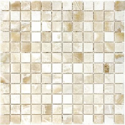 Anatolia Polished Crema Onyx Mosaics 1 Inch X 1 Inch 76 028 Home Depot Canada Tiles Onyx Tile Stone Mosaic Tile