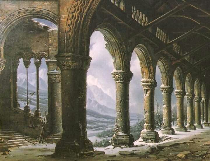 """The Effect of Fog and Snow seen through a ruined Gothic Colonnade"""" ,detail ,1826 by Louis Daguerre."""